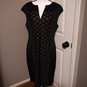 Connected Apparel Black Embellished Evening Dress